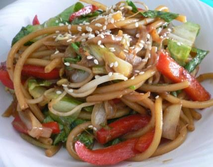 Vegetable Lo Mein for one | KarmaFree Cooking
