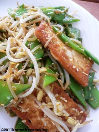 Tofu with Snow Peas and Bean Sprouts | KarmaFree Cooking