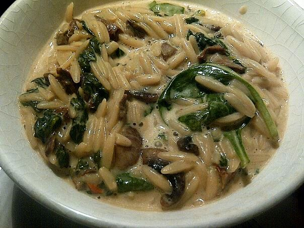 Orzotto with Mushrooms and Spinach