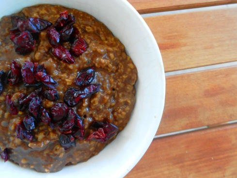Carob Oatmeal with Cranberries