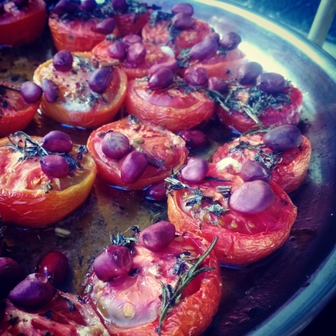 Roasted Tomatoes with Peanuts and Rosemary