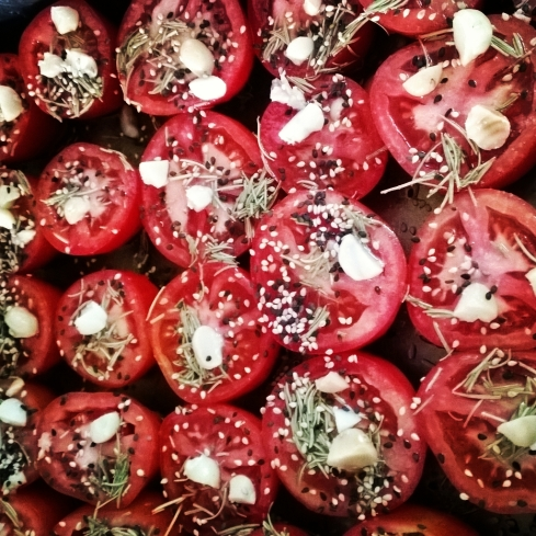 Roasted Tomatoes with Rosemary, Honey and Macadamia Nuts