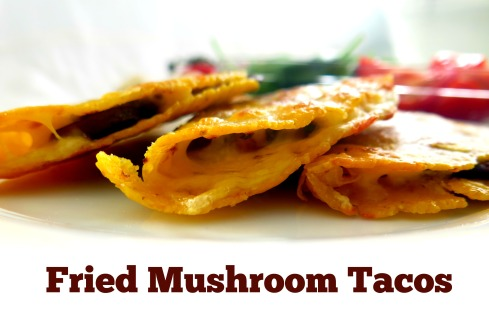 Tacos filled with Mushrooms, Mozzarella and Parmesan Cheese