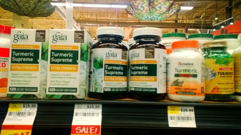 Supplements at Whole Foods made from turmeric