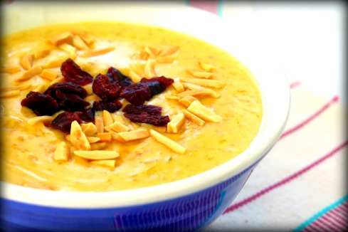 Oatmeal made with pumpkin puree and sweet condensed milk.